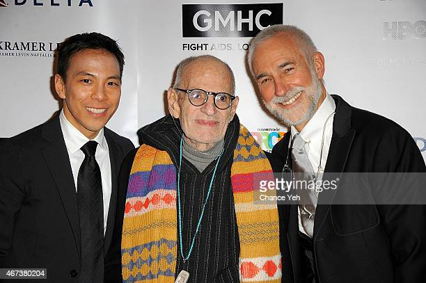 Kelsey Louie Larry Kramer and David Webster attend 2015 Gay Men's Health Crisis Gala Honoring Larry Kramer at Cipriani 42nd Street on March 23 2015...