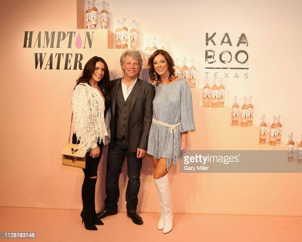 Kelsey Lowrance Jon Bon Jovi and Charlotte Jones Anderson attend the KAABOO Texas Welcomes Hampton Water Tasting at The Joule Hotel on February 28...