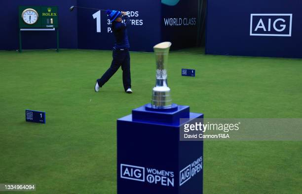 Kelsey MacDonald of Scotland tees off on the first hole during Day One of the AIG Women's Open at Carnoustie Golf Links on August 19, 2021 in...