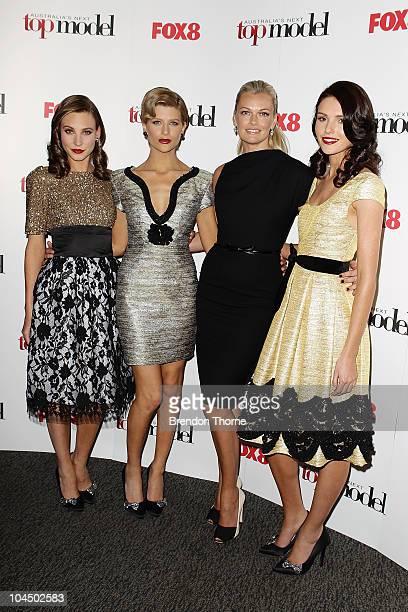 Kelsey Martinovich Sophie Van Den Akker Sarah Murdoch and Amanda Ware arrive at the live final of Australia's Next Top Model at Luna Park on...