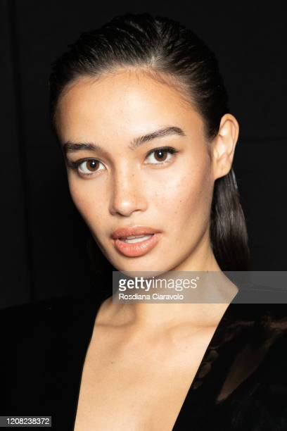 Kelsey Merritt is seen backstage at the Philipp Plein fashion show on February 22, 2020 in Milan, Italy.