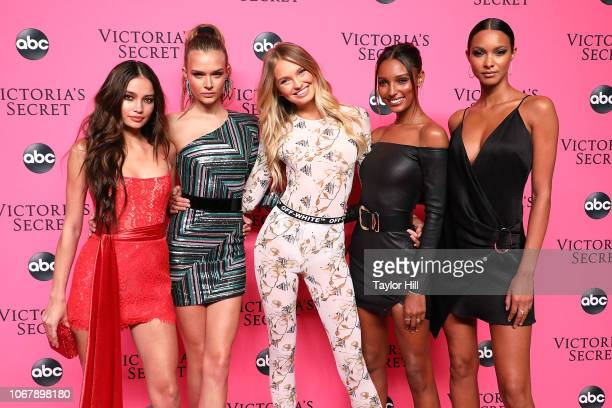 Kelsey Merritt Josephine Skriver Romee Strijd Jasmine Tookes and Lais Ribeiro attend the 2018 Victoria's Secret Fashion Show Viewing Party at Spring...