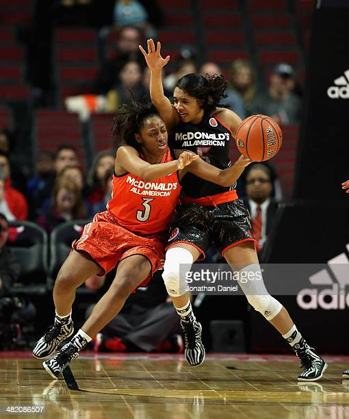 Kelsey Mitchell of the east team passes under pressure from Recee Caldwell of the west team during the 2014 McDonald's All American Game at United...
