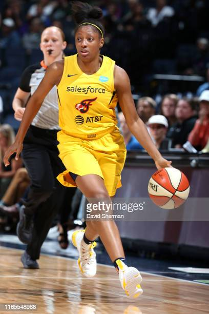 Kelsey Mitchell of the Indiana Fever dribbles up court against the Minnesota Lynx on September 1, 2019 at the Target Center in Minneapolis, Minnesota...
