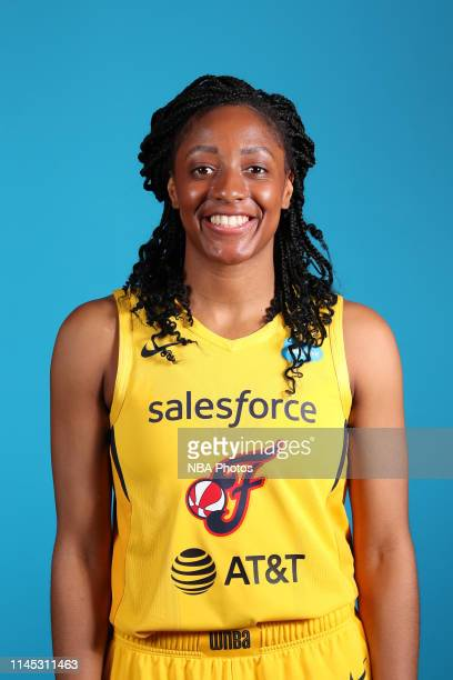 Kelsey Mitchell of the Indiana Fever poses for a head shot during WNBA media day at Bankers Life Fieldhouse on May 20 2019 in Indianapolis Indiana...