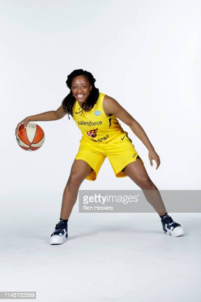 Kelsey Mitchell of the Indiana Fever poses for a portrait during the WNBA Media Day at Bankers Life Fieldhouse on May 20 2019 in Indianapolis Indiana...
