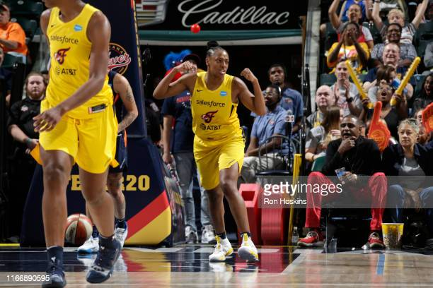 Kelsey Mitchell of the Indiana Fever reacts to play against the Connecticut Sun on September 8, 2019 at the Bankers Life Fieldhouse in Indianapolis,...