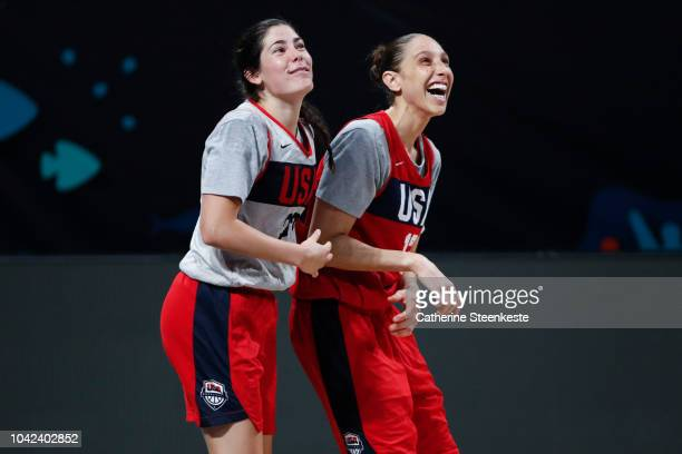 Kelsey Plum and Diana Taurasi of the USA National Team during practice at the FIBA Women's Basketball World Cup at Pabellon de Deportes de Tenerife...