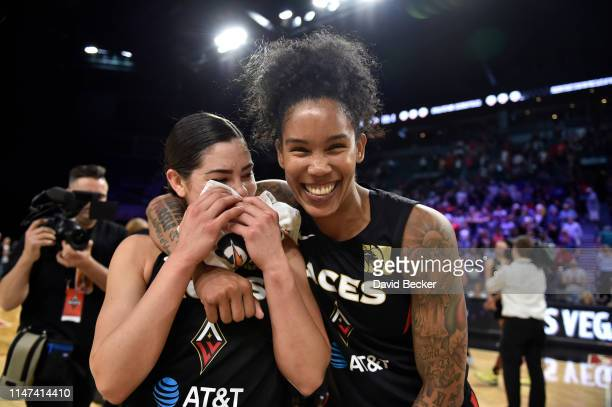 Kelsey Plum and Tamera Young of Las Vegas Aces celebrate after the game against the Los Angeles Sparks on May 26 2019 at the Mandalay Bay Events...