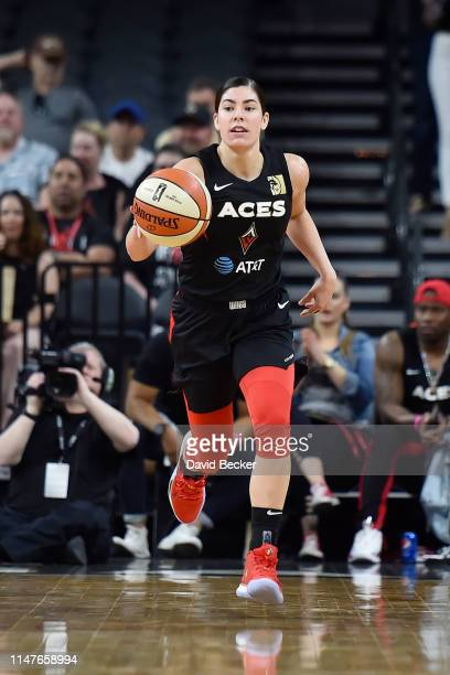 Kelsey Plum of Las Vegas Aces dribbles the ball during the game against the Oklahoma City Thunder on June 2 2019 at the Mandalay Bay Events Center in...