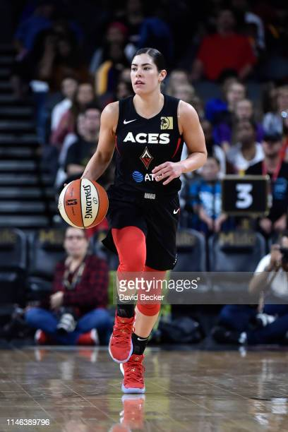 Kelsey Plum of Las Vegas Aces dribbles up court against the Los Angeles Sparks on May 26 2019 at the Mandalay Bay Events Center in Las Vegas Nevada...