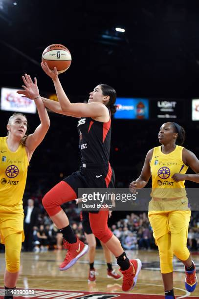 Kelsey Plum of Las Vegas Aces drives to the basket for shot against the Los Angeles Sparks on May 26 2019 at the Mandalay Bay Events Center in Las...