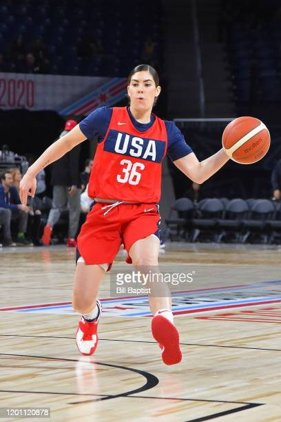 Kelsey Plum of Senior Women's USA National Team passes the ball during the USA Women's Basketball Showcase as part of 2020 NBA AllStar Weekend on...