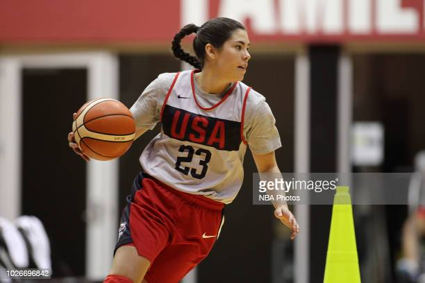 Kelsey Plum of the 2018 USA Basketball Women's National Team dribbles the ball during training camp at the University of South Carolina on September...