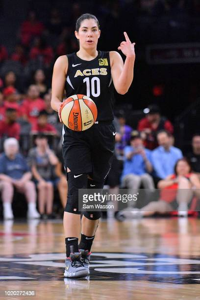 Kelsey Plum of the Las Vegas Aces brings the ball up the court against the New York Liberty during their game at the Mandalay Bay Events Center on...