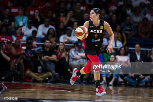 Kelsey Plum of the Las Vegas Aces dribbles the ball against the Washington Mystics during the first half of Game Two of the 2019 WNBA playoffs at St...