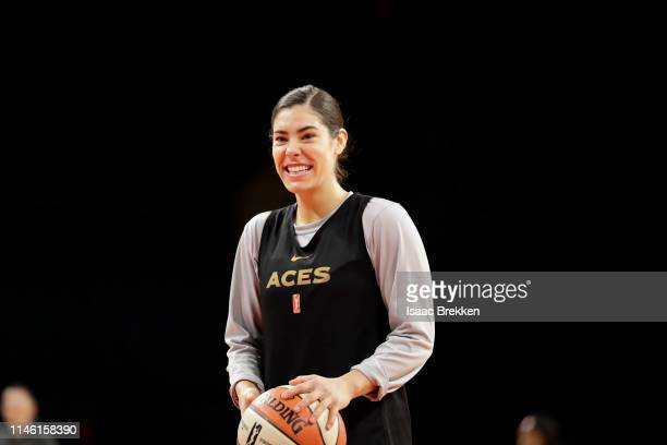 Kelsey Plum of the Las Vegas Aces enjoys a laugh during a practice on May 24 2019 at the Mandalay Bay Events Center in Las Vegas Nevada NOTE TO USER...