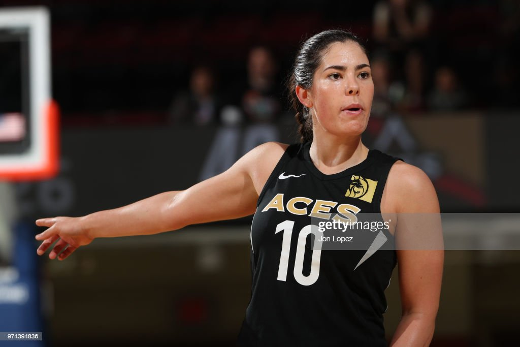 Kelsey Plum #10 of the Las Vegas Aces gestures during the game against the New York Liberty on June 13, 2018 at Westchester County Center in White Plains, New York.