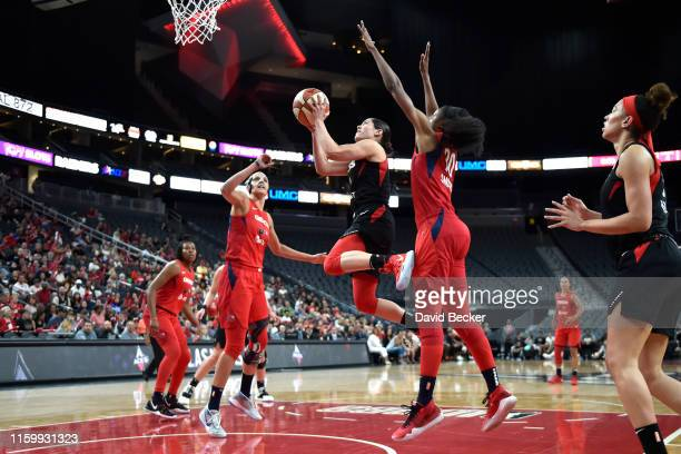 Kelsey Plum of the Las Vegas Aces goes up for the shot against the Washington Mystics on August 5 2019 at the TMobile Arena in Las Vegas Nevada NOTE...