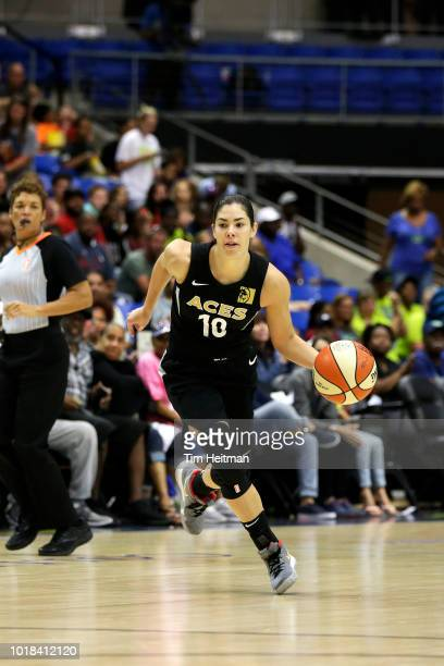 Kelsey Plum of the Las Vegas Aces handles the ball against the Dallas Wings on August 17 2018 at College Park Center in Arlington Texas NOTE TO USER...
