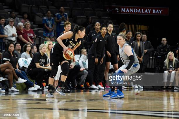 Rebekkah Brunson of the Minnesota Lynx shoots against Tamera Young of the Las Vegas Aces during their game at the Mandalay Bay Events Center on June...