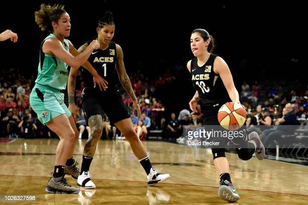 Kelsey Plum of the Las Vegas Aces handles the ball against the New York Liberty on August 15 2018 at the Allstate Arena in Chicago Illinois NOTE TO...