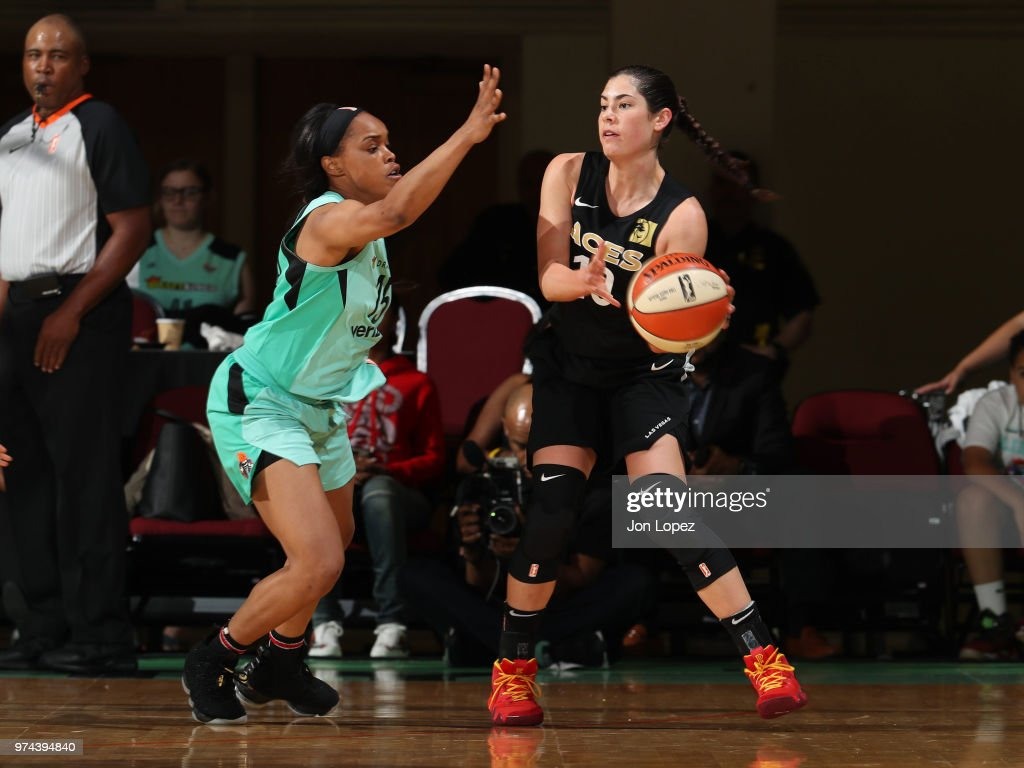 Kelsey Plum #10 of the Las Vegas Aces handles the ball against the New York Liberty on June 13, 2018 at Westchester County Center in White Plains, New York.