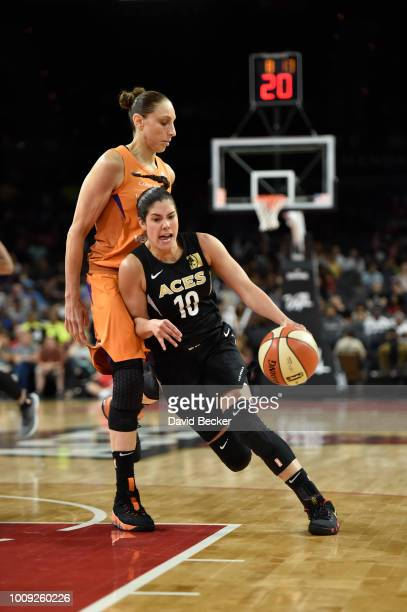 Kelsey Plum of the Las Vegas Aces handles the ball against the Phoenix Mercury on August 1 2018 at the Mandalay Bay Events Center in Las Vegas Nevada...