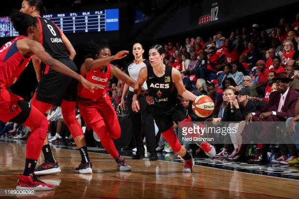 Kelsey Plum of the Las Vegas Aces handles the ball against the Washington Mystics on September 17 2019 at the St Elizabeths East Entertainment and...