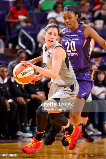 Kelsey Plum of the Las Vegas Aces handles the ball against the Phoenix Mercury on June 10 2018 at Talking Stick Resort Arena in Phoenix Arizona NOTE...