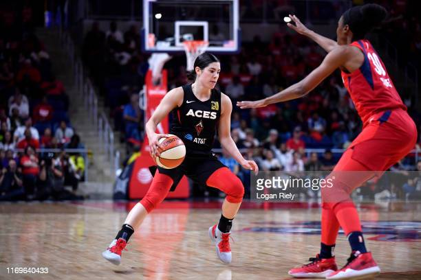 Kelsey Plum of the Las Vegas Aces handles the ball against the Washington Mystics during Game Two of the 2019 WNBA Semifinals on September 19 2019 at...
