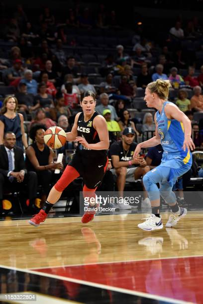 Kelsey Plum of the Las Vegas Aces handles the ball against the Chicago Sky on July 2 2019 at the Mandalay Bay Events Center in Las Vegas Nevada NOTE...