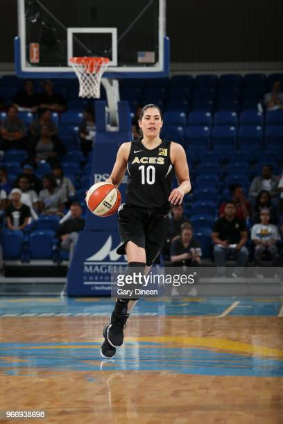 Kelsey Plum of the Las Vegas Aces handles the ball against the Chicago Sky on June 3 2018 at the Wintrust Arena in Chicago Illinois NOTE TO USER User...