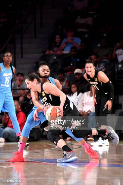 Kelsey Plum of the Las Vegas Aces handles the ball during the game against the Atlanta Dream on August 07 2018 at McCamish Pavilion in Atlanta...