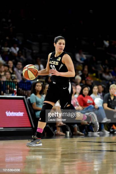 Kelsey Plum of the Las Vegas Aces handles the ball during the game against the Indiana Fever on August 11 2018 at the Mandalay Bay Events Center in...