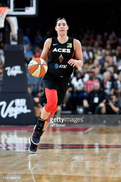 Kelsey Plum of the Las Vegas Aces handles the ball during the game against the Washington Mystics on June 20 2019 at the Mandalay Bay Events Center...