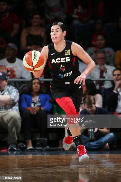 Kelsey Plum of the Las Vegas Aces handles the ball during the game against the Washington Mystics during Game Two of the WNBA Semi Finals on...