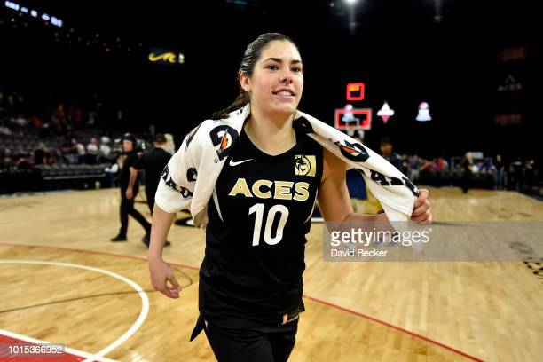 Kelsey Plum of the Las Vegas Aces is seen after the game against the Indiana Fever on August 11 2018 at the Mandalay Bay Events Center in Las Vegas...