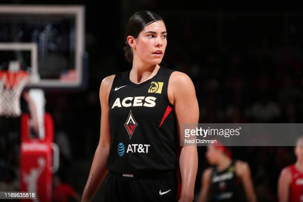 Kelsey Plum of the Las Vegas Aces looks on during the game against the Washington Mystics during Game Two of the WNBA Semi Finals on September 19...