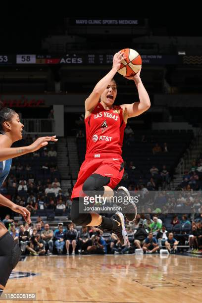 Kelsey Plum of the Las Vegas Aces passes the ball against the Minnesota Lynx on June 16 2019 at the Target Center in Minneapolis Minnesota NOTE TO...