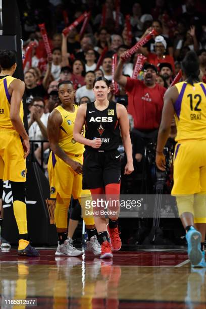 Kelsey Plum of the Las Vegas Aces reacts to play against the Los Angeles Sparks on August 31 2019 at the Mandalay Bay Events Center in Las Vegas...