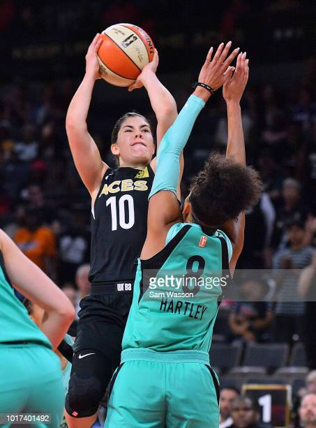 Kelsey Plum of the Las Vegas Aces shoots against Bria Hartley of the New York Liberty during their game at the Mandalay Bay Events Center on August...