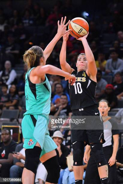 Kelsey Plum of the Las Vegas Aces shoots against Rebecca Allen of the New York Liberty during their game at the Mandalay Bay Events Center on August...