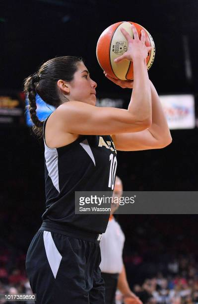 Kelsey Plum of the Las Vegas Aces shoots against the New York Liberty during their game at the Mandalay Bay Events Center on August 15 2018 in Las...