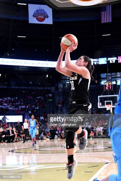 Kelsey Plum of the Las Vegas Aces shoots the ball during the game against the Atlanta Dream on August 07 2018 at McCamish Pavilion in Atlanta Georgia...