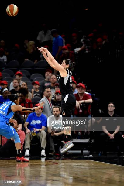 Kelsey Plum of the Las Vegas Aces shoots the ball during the game against the Atlanta Dream on August 19 2018 at the Allstate Arena in Chicago...