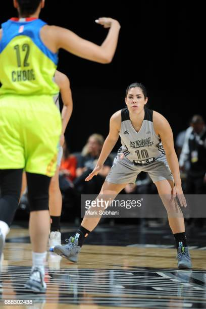 Kelsey Plum of the San Antonio Stars defends against the Dallas Wings on May 25 2017 at the ATT Center in San Antonio Texas NOTE TO USER User...
