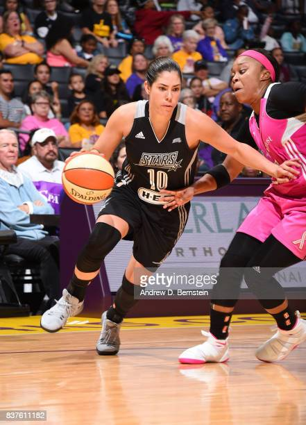 Kelsey Plum of the San Antonio Stars drives to the basket against the Los Angeles Sparks on August 22 2017 at the STAPLES Center in Los Angeles...