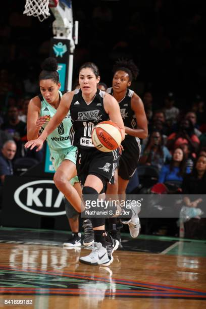 Kelsey Plum of the San Antonio Stars drives to the basket against the New York Liberty on September 1 2017 at Madison Square Garden in New York New...