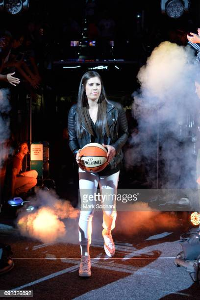 Kelsey Plum of the San Antonio Stars enters the arena before the game against the Phoenix Mercury on May 19 2017 at ATT Center in San Antonio Texas...